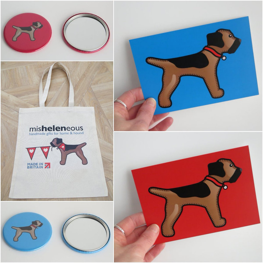 A collage of red and blue postcard prints and compact mirrors plus a canvas tote bag all featuring my border terrier logo