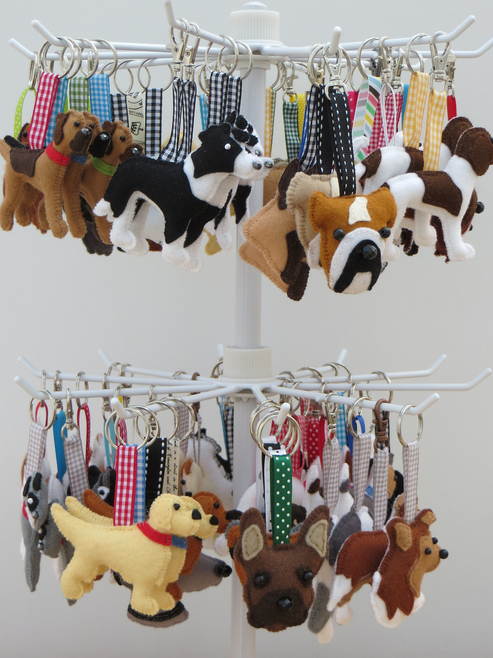 A carousel of felt keyrings and bag charms in kennel club dog breeds