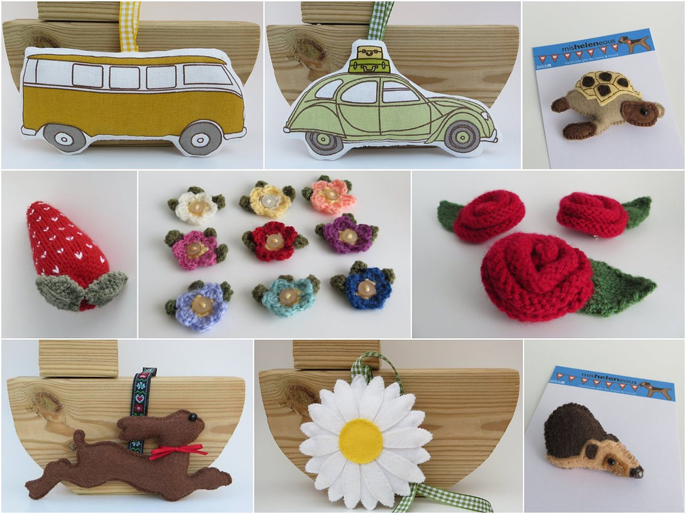 A collage of multi coloured handmade gifts from felt, wool, and fabric. including animals, transport and flowers