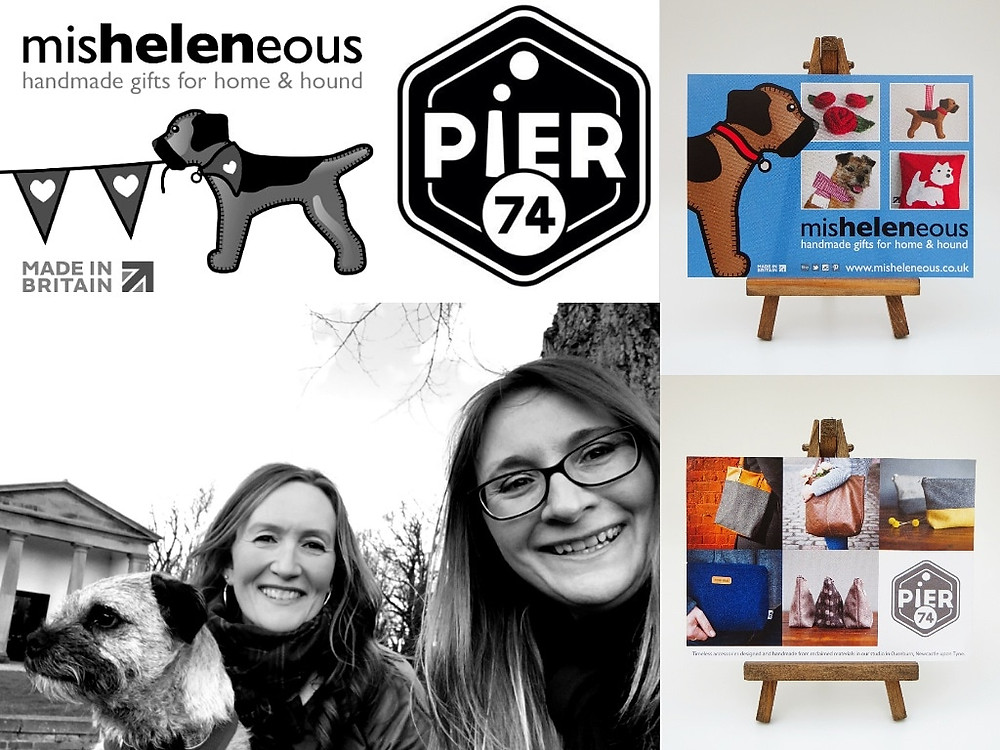 Black and white photograph collage showing Helen and Angela with border terrier Heidi and our craft work