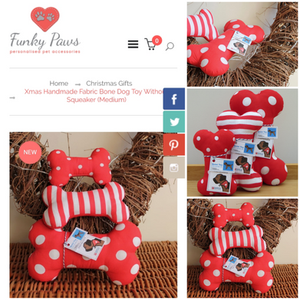 Red and white fabric dog toy bones displayed in a collage