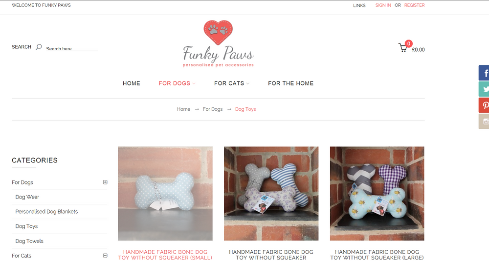 Funky Paws Website page showing the dog toy bones