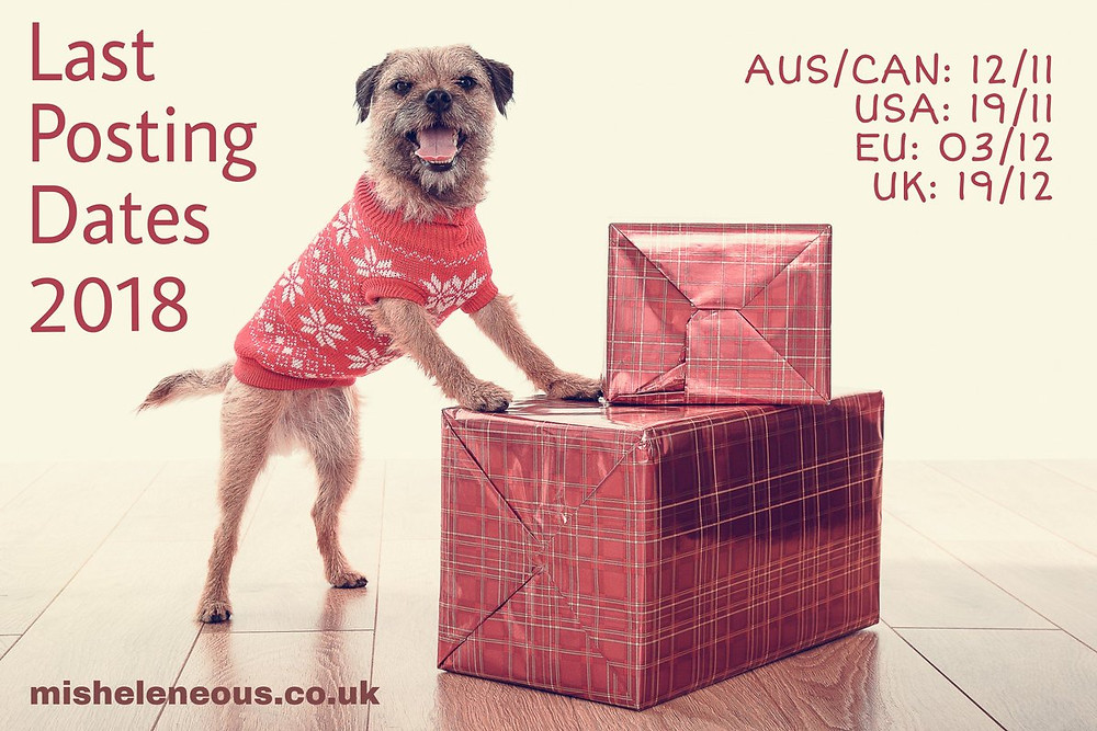 a border terrier stood on hind legs resting front paws on festive parcels and dressed in a red christmas jumper