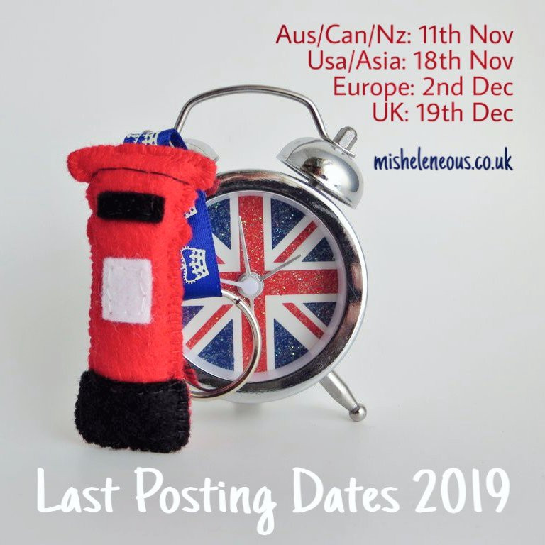 handmade felt postbox and union flag calarm clock with last posting dates for christmas orders