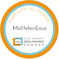 The orange white and blue circular winners badge logo for Theop Paphitis Small Business Sunday Winners