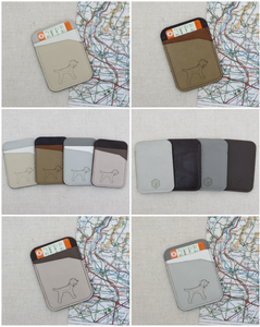 A collage of the Earths and Neutrals range of leather ticket or credit card holders with a border terrier laser cut motif on the front