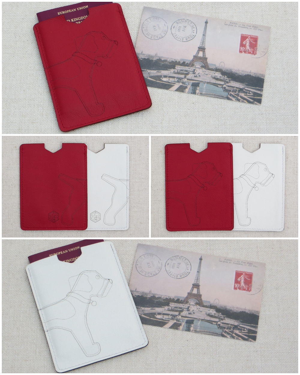 a collage of red and white passport sleeves featuring a wrap around border terrier motif to the front and reverse side