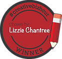 A red circular Creative Biz Hour logo badge with pencil