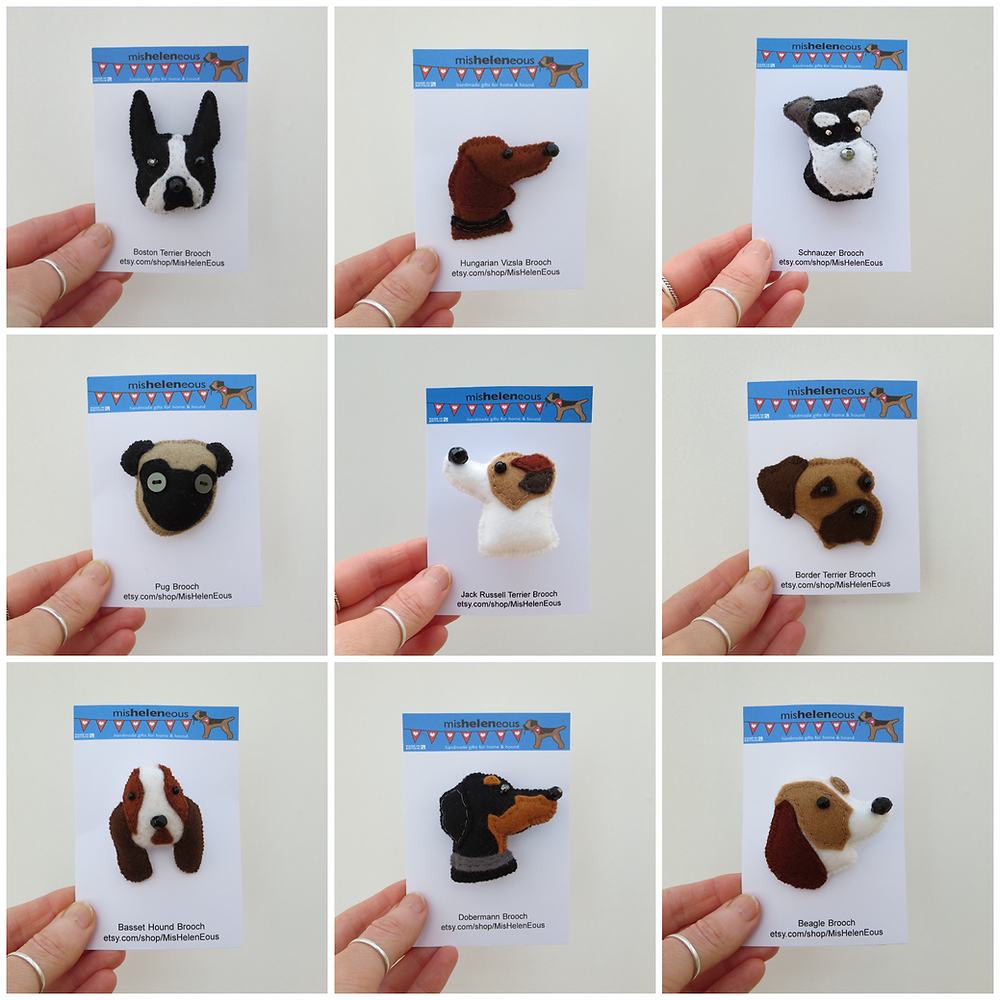 Hand sewn kennel club dog breed felt brooches on backing cards
