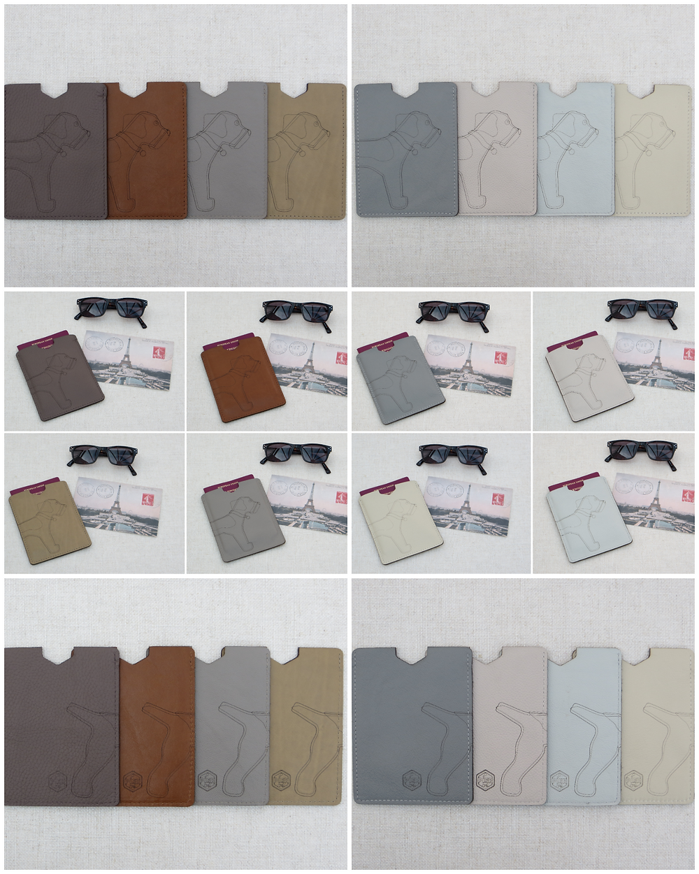 a collage of the passport sleeve collection in the earths and neutrals collection featuring a wrap around border terrier laser cut motif on the front and reverse sides