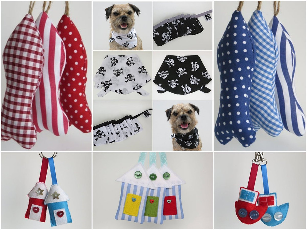 A collage of felt and fabric nautical themed handmade gifts including bag charms, lavender ornaments, keyrings and bunting