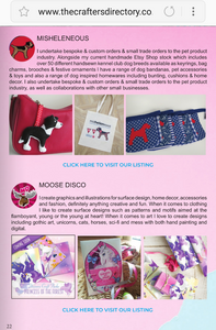 Images and text showcasing the dog breed bag charms, bunting and bags I produce