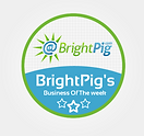 A green white and blue circular badge logo for Brigh Pig Business of the week