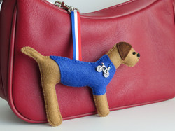 Cycling Border Terrier bag charm
