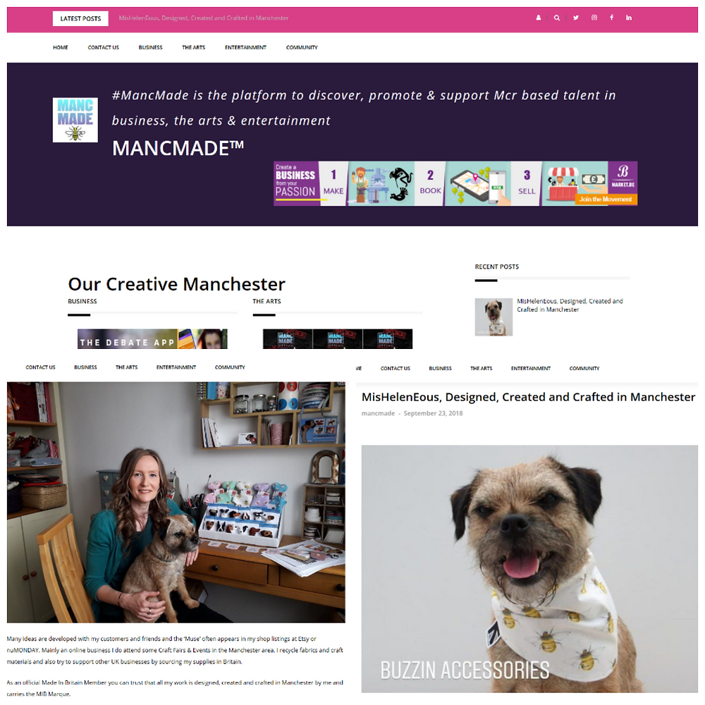 A collage of my featured post on the MancMade Website including my home studio and my border terrier