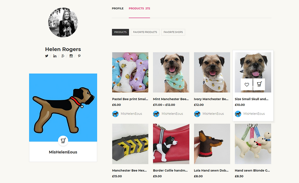 A screenshot of my products arranged in my new online store at nuMONDAY