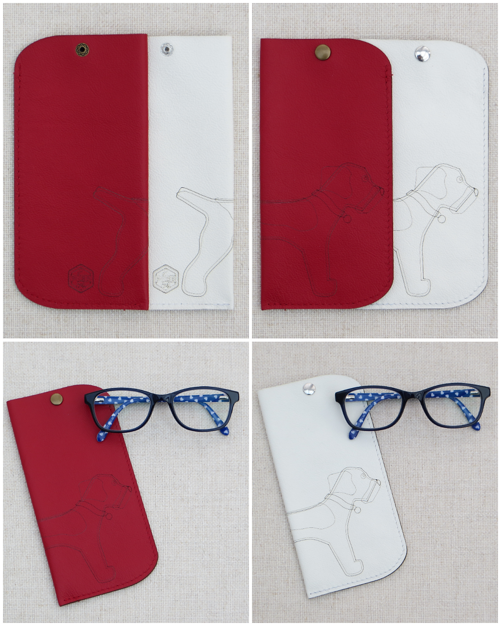 collage of red and white glasses cases with the wrap around border terrier motif