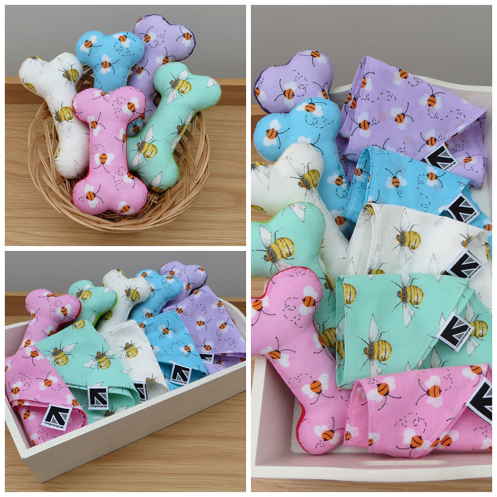 Bee motif fabric dog bones and matching bandanas in pastel colours
