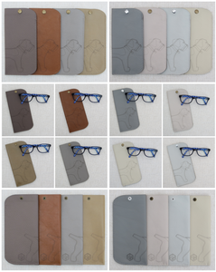collage of leather spectacle cases from the earths and neutrals collection featuring a wrap around border terrier laser cut motif
