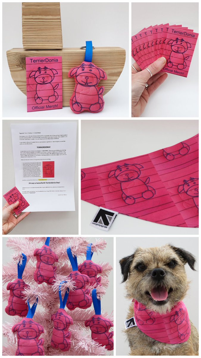 A collage of pink fabric dog bandanas, ornaments, keyrings with leaflet and business cards