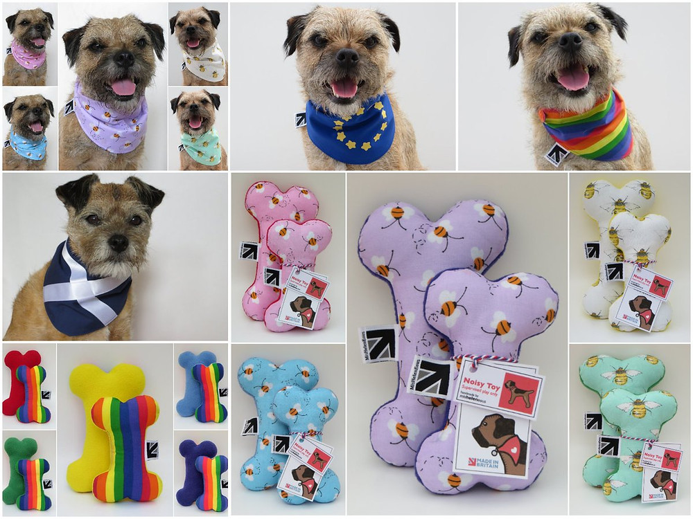 A collage of multi coloured and print dog toy bones and matching dog bandanas