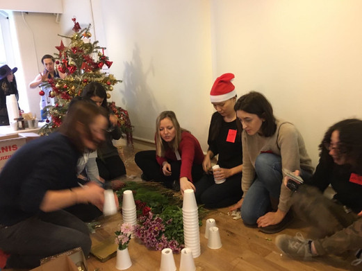 Volunteers decorating