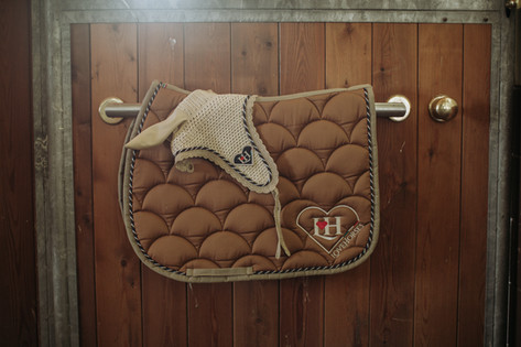 Sottosella e cuffietta coordinati per cavallo fatto a mano e made in italy LoveHorses