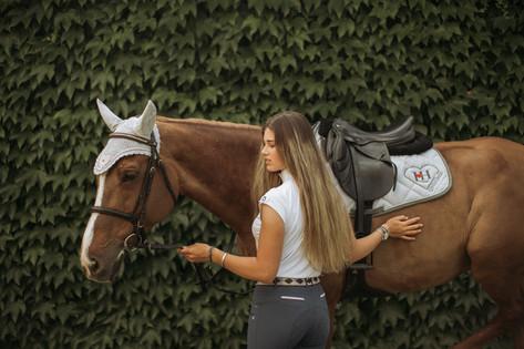 Coordinato cavallo personalizzato lovehorses sottosella e cuffietta in cotone makò egiziano