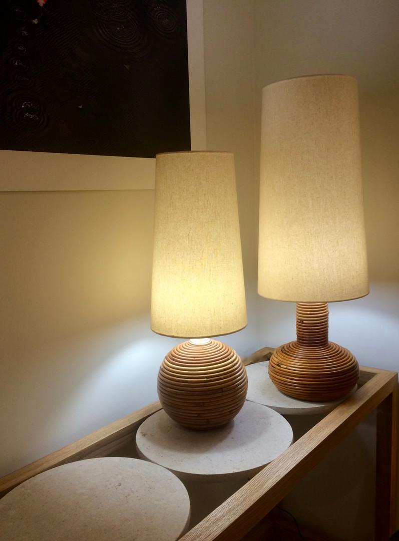 Habillage lampe en rotin