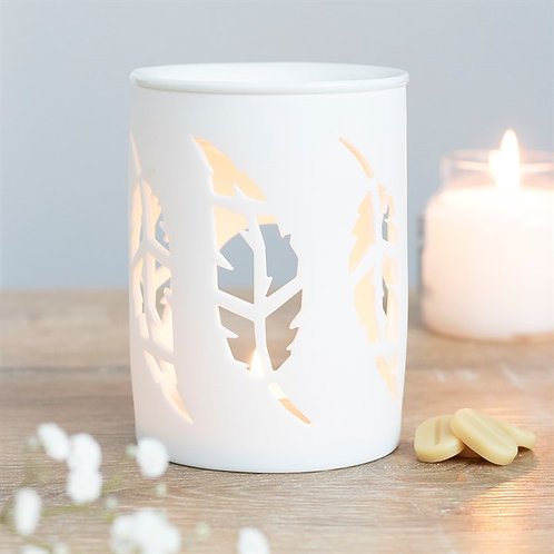 White Feather Cut Out Tealight Wax Melter