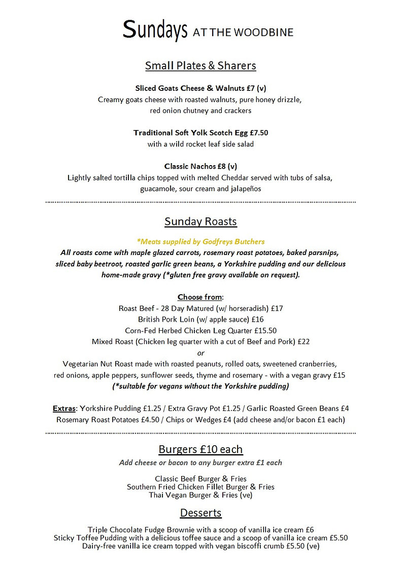 The Woodbine Sunday Lunch Menu April 202