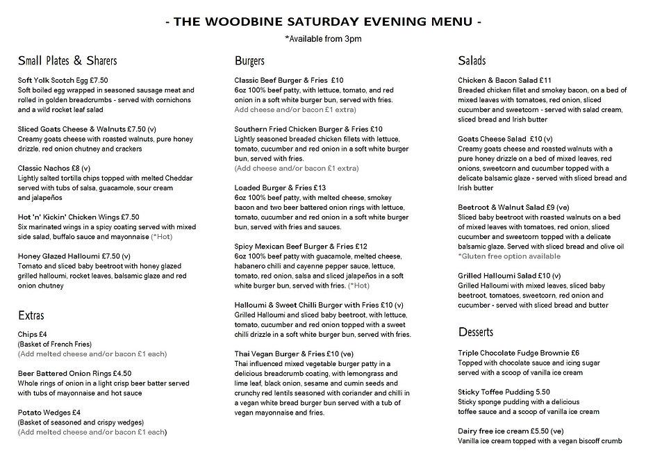 The Woodbine Saturday Evening Menu April