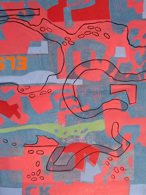 Vertraute Topografie - Linoldruck - 50x42cm - Einzelstück