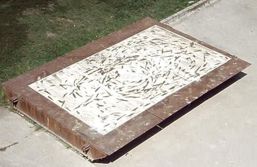 Children's footprint Salt installation on iron  plate  4m x 6m 2003 - INTERart 2003 Miercurea Ciuc Romania