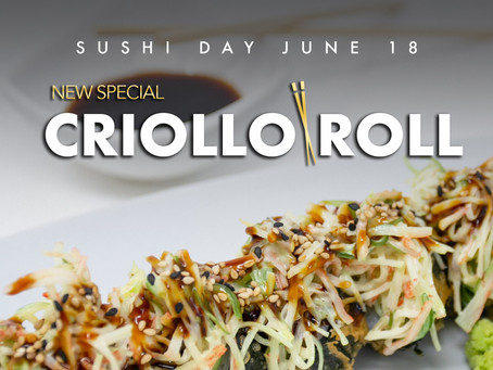 Come enjoy our new Criollo Roll for Sushi Day at Azia Restaurant & Lounge. Only AWG 15,-