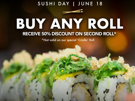Buy any Sushi Roll and receive 50% off on the second one, only at Azia Restaurant & Lounge!