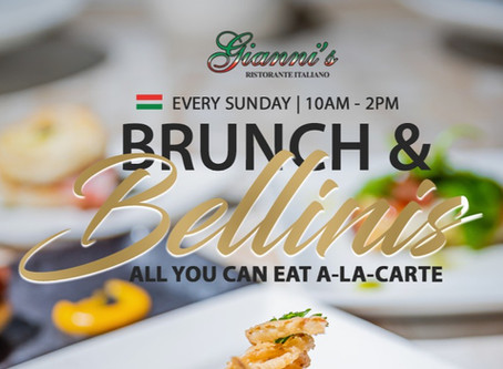 Brunch & Bellinis only at Gianni's Ristorante Italiano! Kids under 5 eat pasta for FREE!