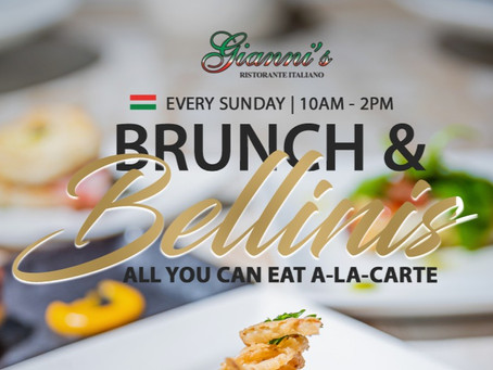 September is almost over! Join us this Sunday for Brunch & Bellinis at Gianni's Ristorante Italiano