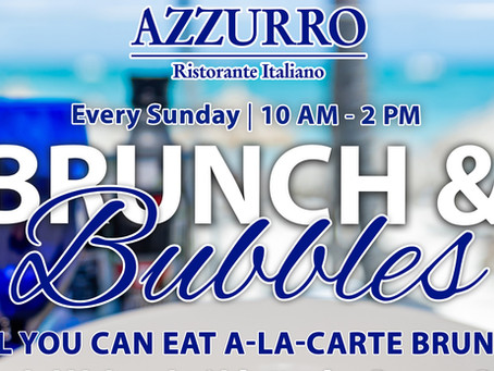 Brunch & Bubbles with a sea view! Only at Azzurro Ristorante Italiano! Reserve your table today!