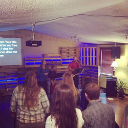 Sunday morning worship at our campus house