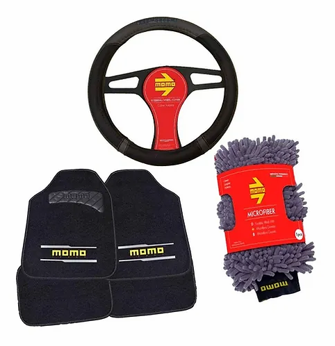 Kit Cubre Volante, Tapetes Y Microfibra Momo Black And Grey