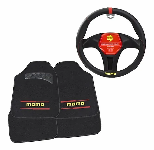 Kit De Cubre Volante Y Tapetes Momo Black And Red