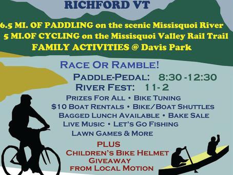 Missisquoi River Paddle - Pedal & Richford River Fest
