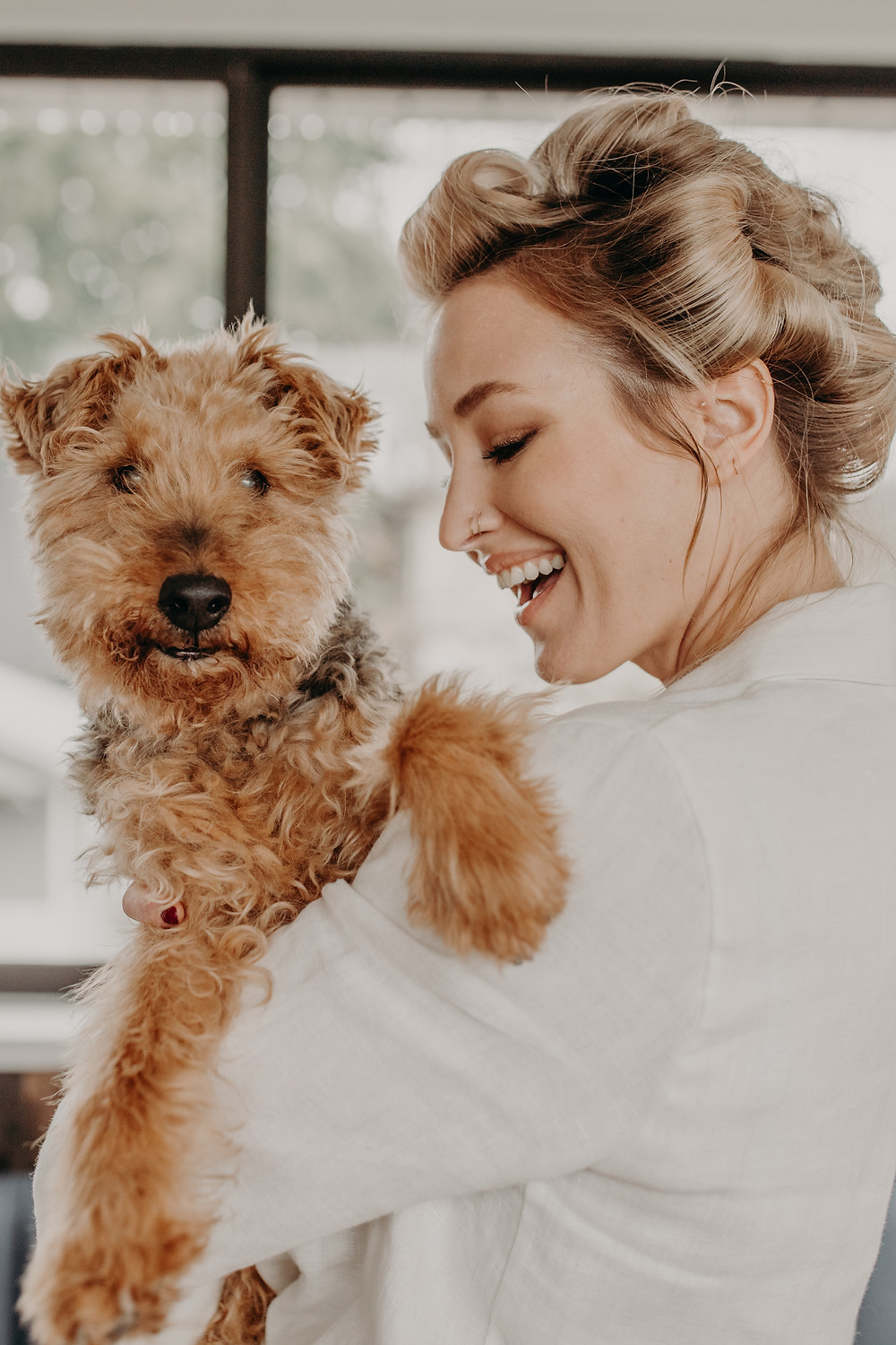 Tessa and her welsh terrier Raja shot in her home