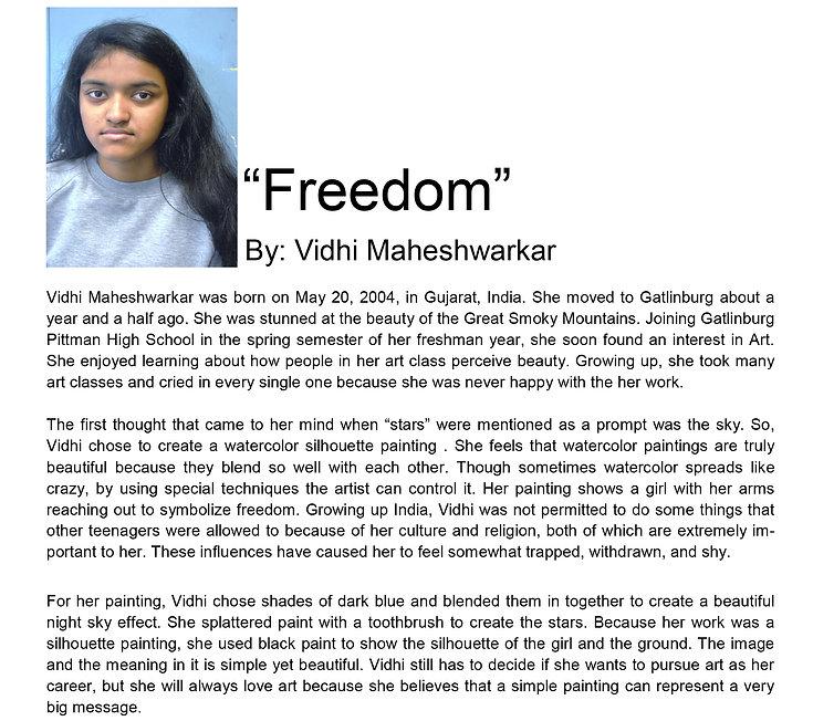 Artist bio spring semester Vidhi Maheshw