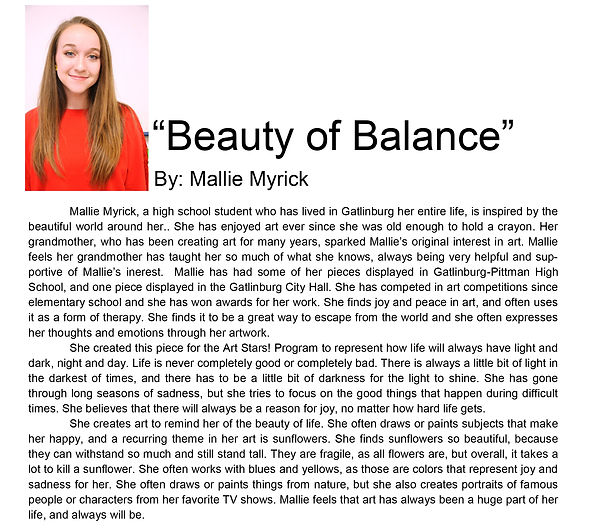 Artist bio spring semester Mallie Myrick