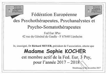Carte d'adhéren à la Fédération des Psychothérapeutes