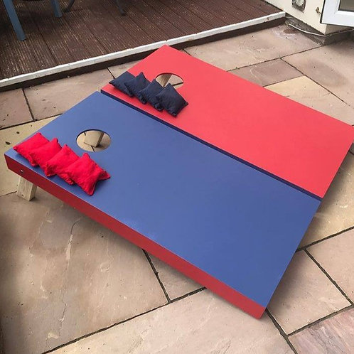 Hand painted red vs blue cornhole boards with 8 x throwing bags