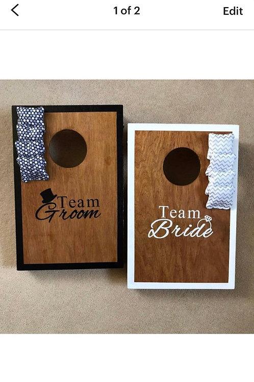 Team Bride vs Team Groom stained mini game