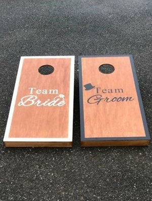 Wedding cornhole boards and 8 x throwing bags